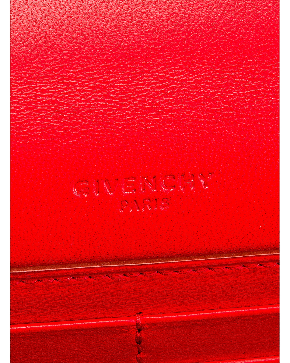 Image 7 of Givenchy GV3 Quilted Leather Strap Wallet Bag in Red