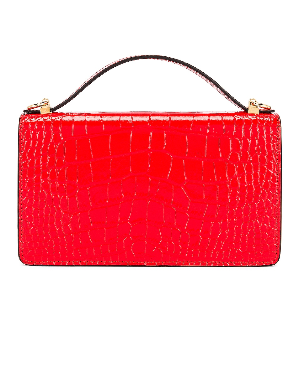 Image 3 of Givenchy GV3 Embossed Croc Strap Wallet Bag in Red