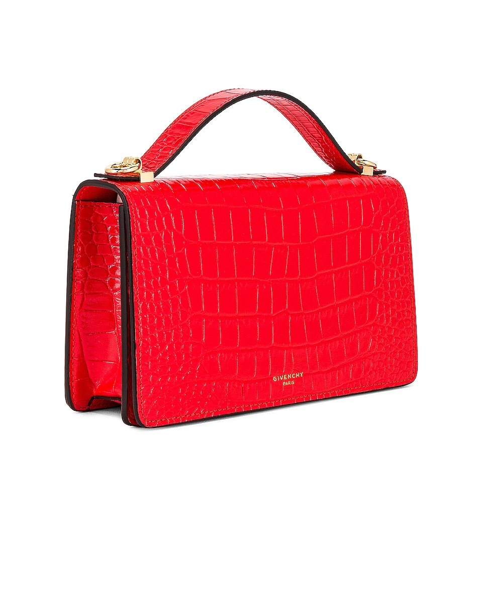 Image 4 of Givenchy GV3 Embossed Croc Strap Wallet Bag in Red