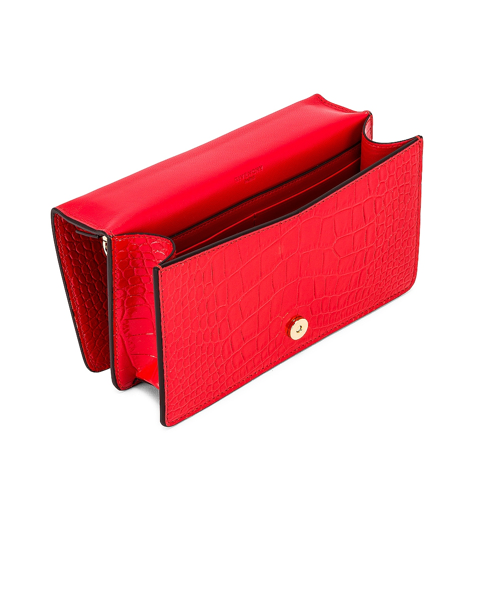 Image 5 of Givenchy GV3 Embossed Croc Strap Wallet Bag in Red