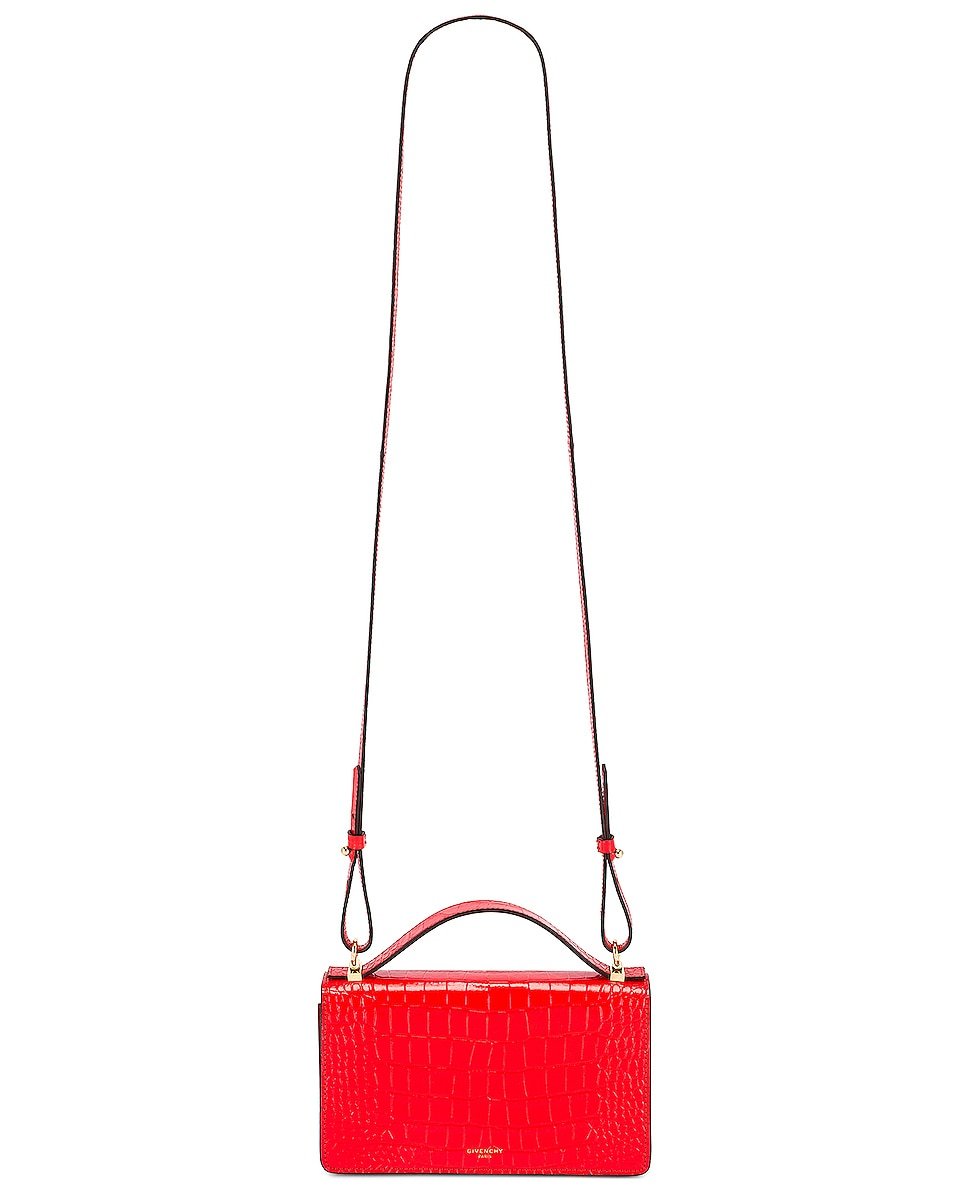 Image 6 of Givenchy GV3 Embossed Croc Strap Wallet Bag in Red