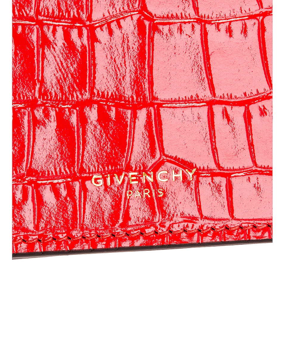 Image 8 of Givenchy GV3 Embossed Croc Strap Wallet Bag in Red