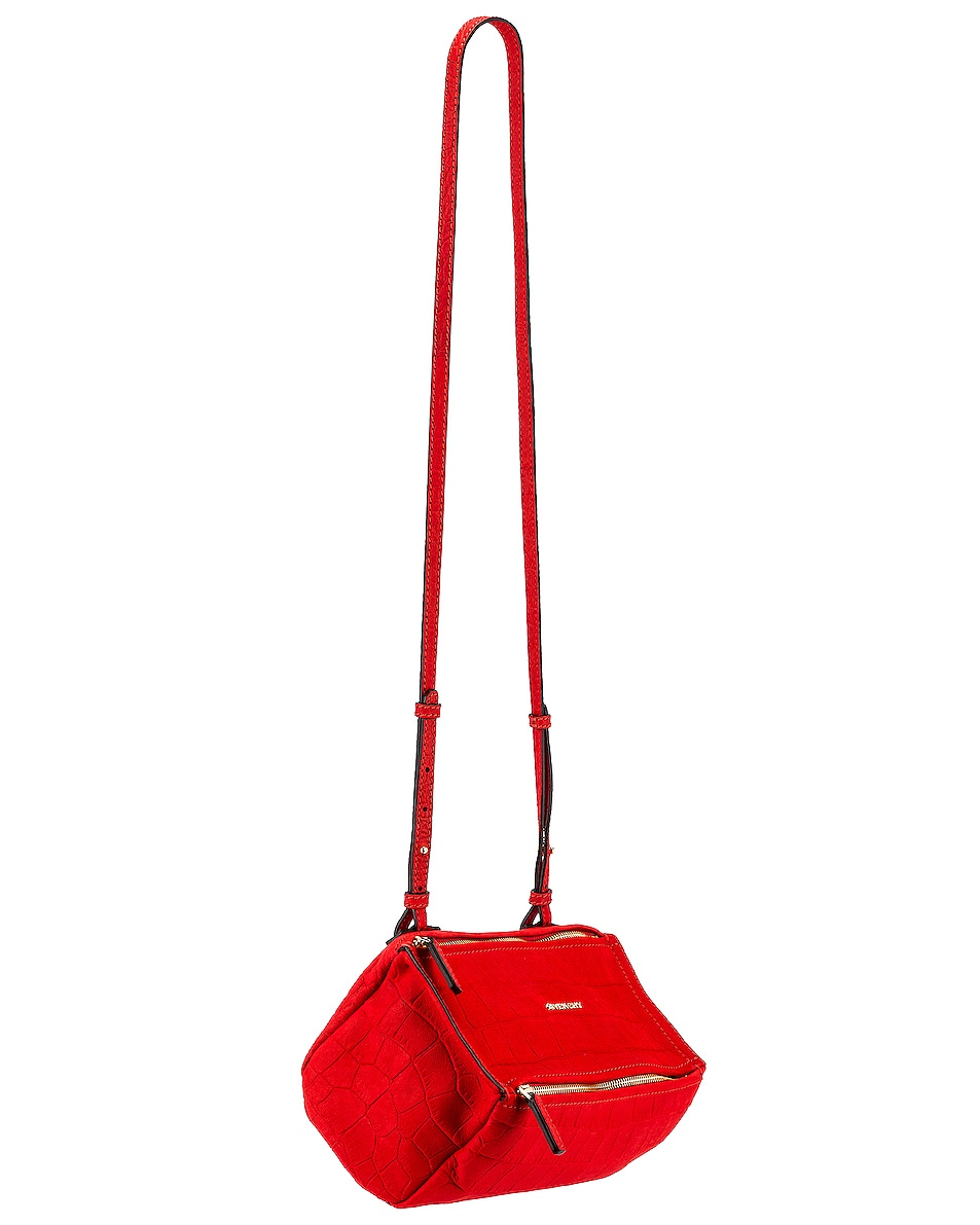 Image 1 of Givenchy Mini Pandora Embossed Croc Bag in Red