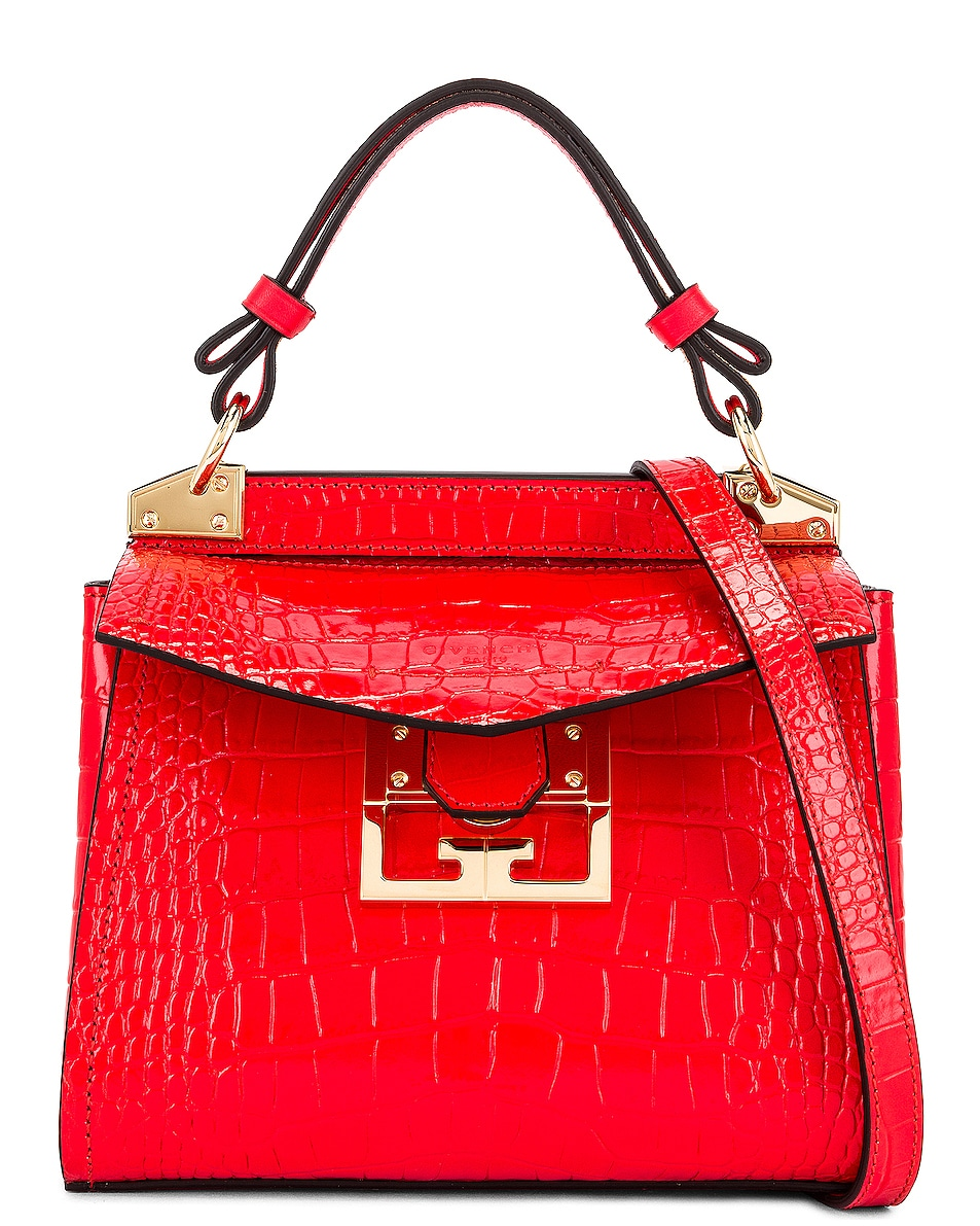 Image 1 of Givenchy Mini Mystic Embossed Croc Bag in Red
