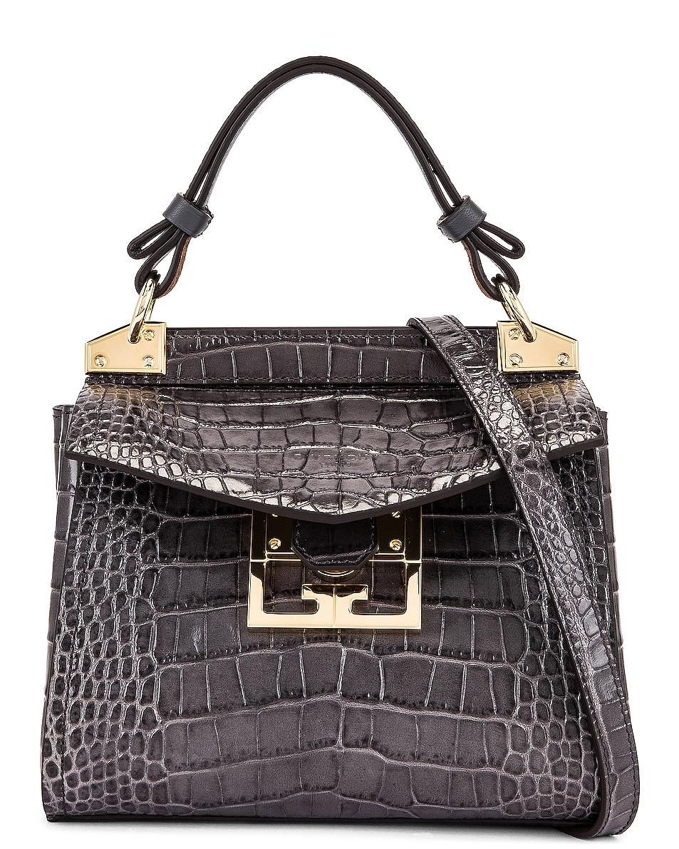 Image 1 of Givenchy Mini Mystic Embossed Croc Bag in Storm Grey