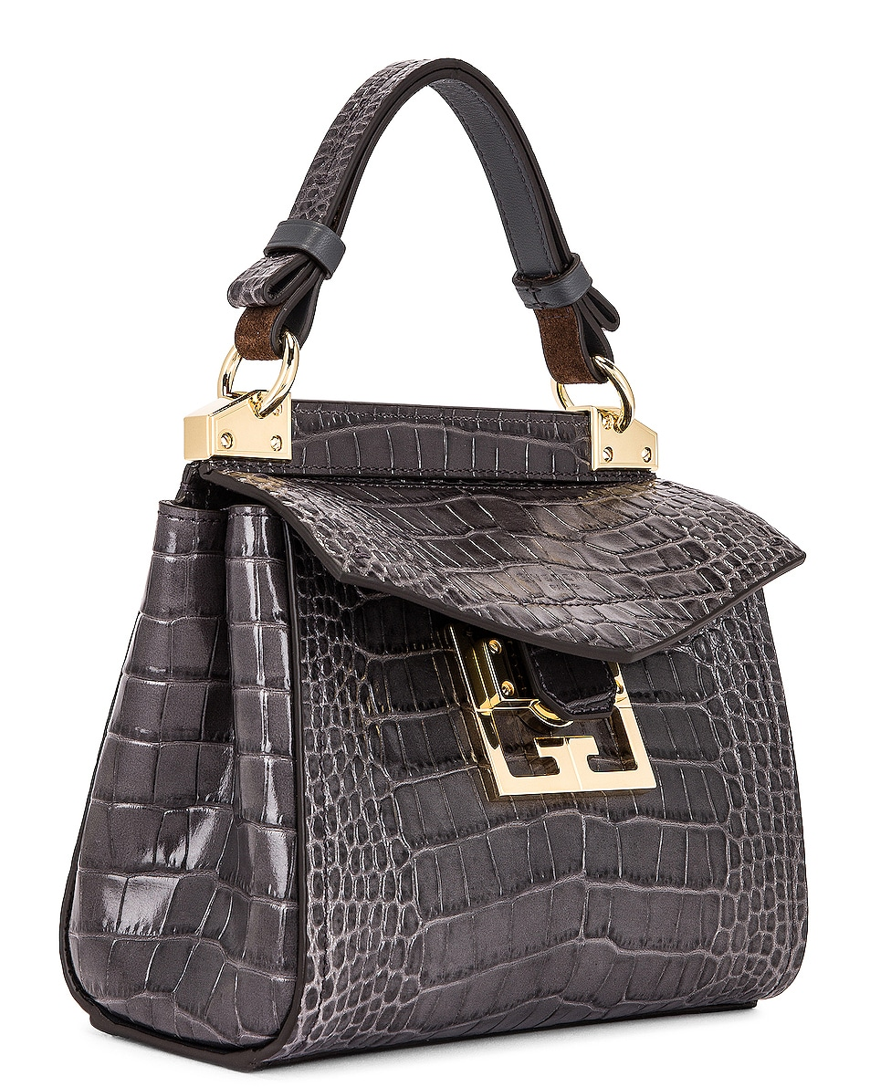 Image 4 of Givenchy Mini Mystic Embossed Croc Bag in Storm Grey