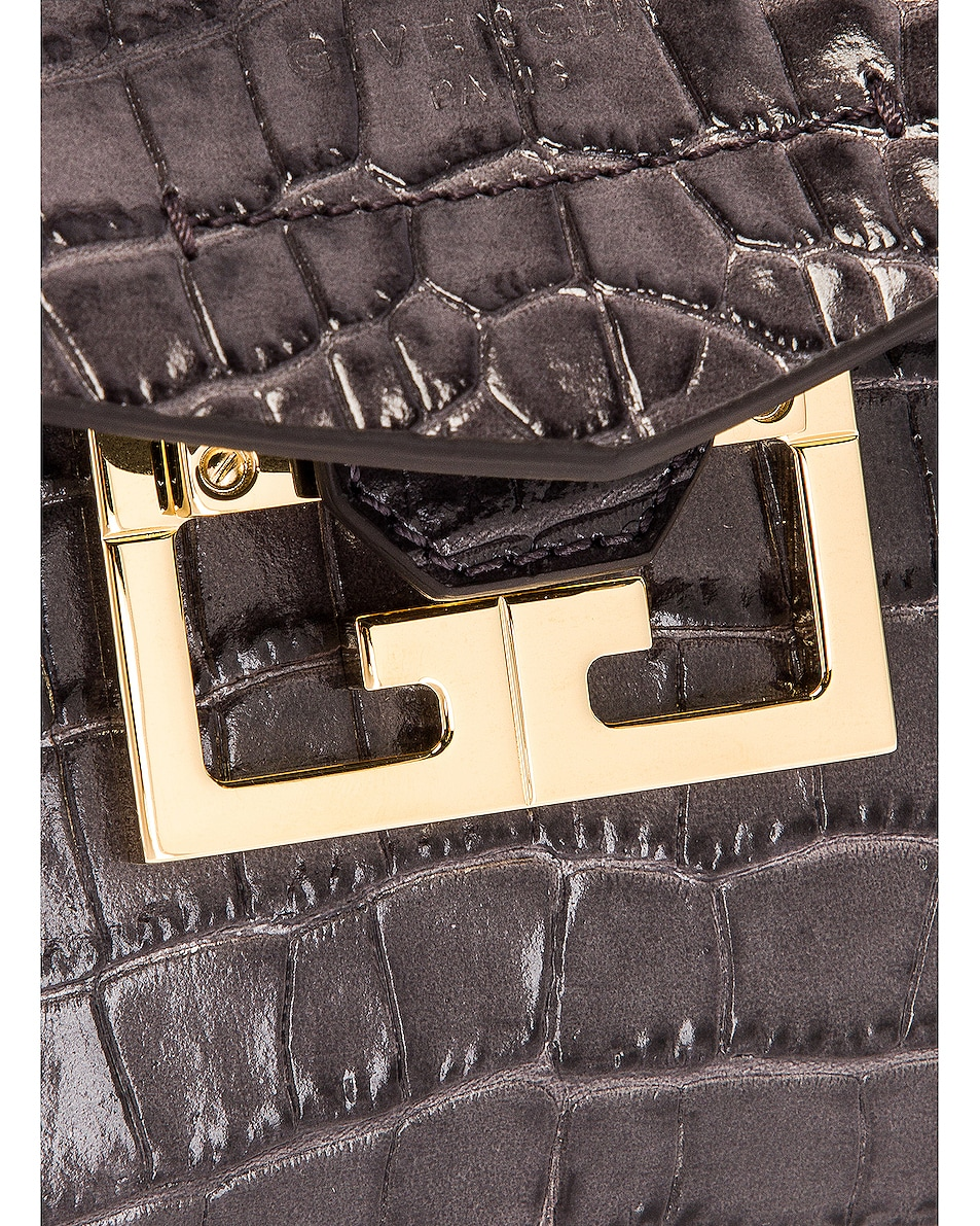 Image 8 of Givenchy Mini Mystic Embossed Croc Bag in Storm Grey