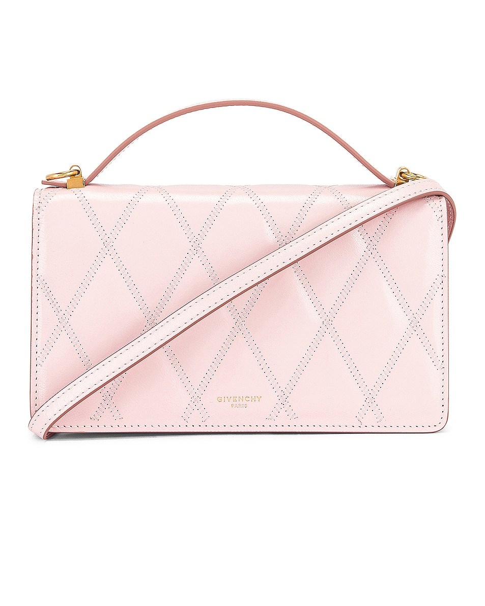 Image 1 of Givenchy GV3 Quilted Leather Strap Wallet Bag in Pink