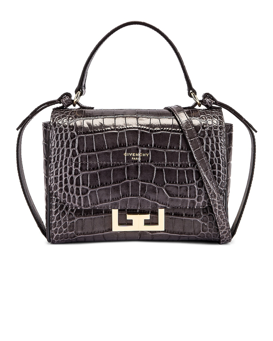 Image 1 of Givenchy Mini Embossed Croc Eden Bag in Storm Grey
