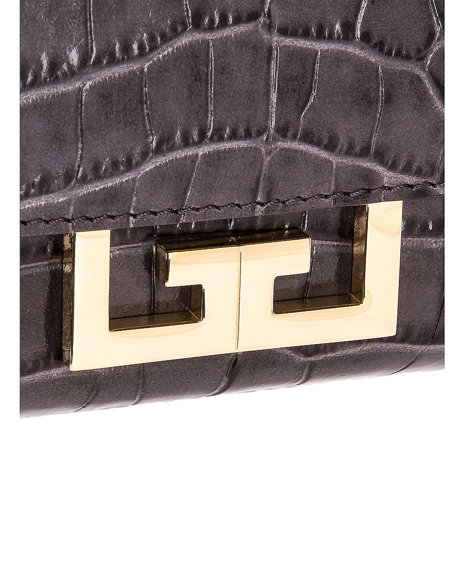 Image 8 of Givenchy Mini Embossed Croc Eden Bag in Storm Grey