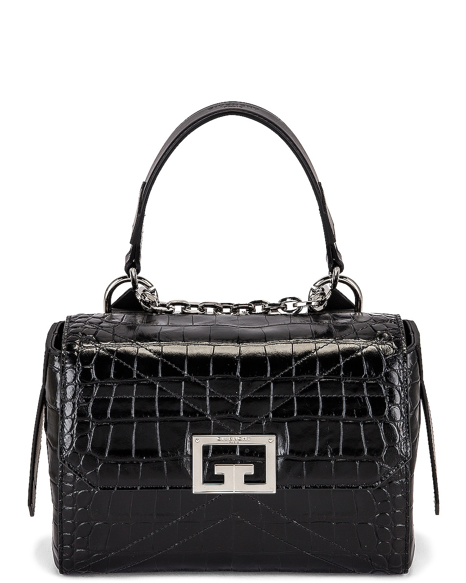 Image 1 of Givenchy Small Embossed Croc ID Flap Bag in Black