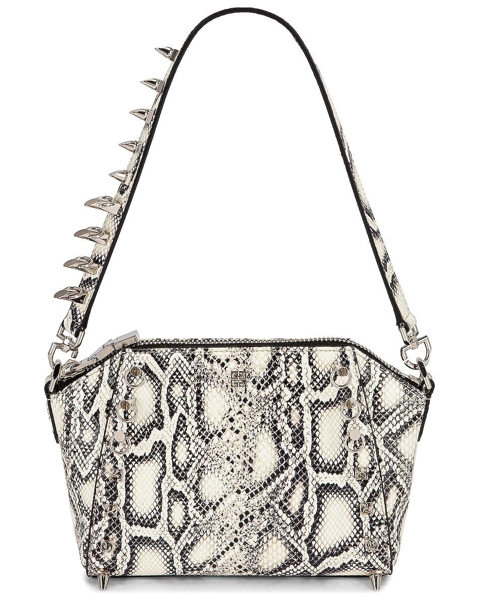 Image 1 of Givenchy XS Antigona Snake Print Bag in Black & White