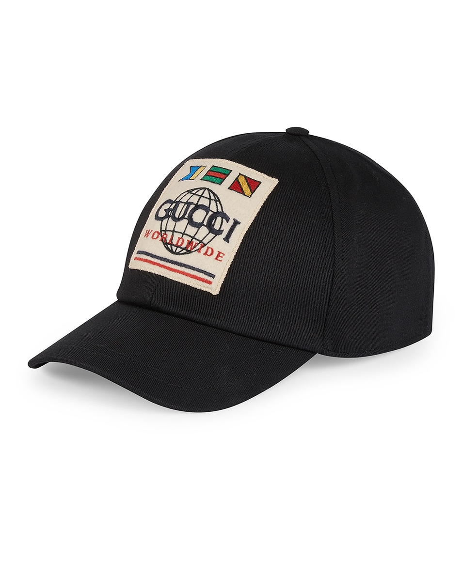 Image 1 of Gucci Baseball Hat With Gucci Worldwide Patch In Black in Black
