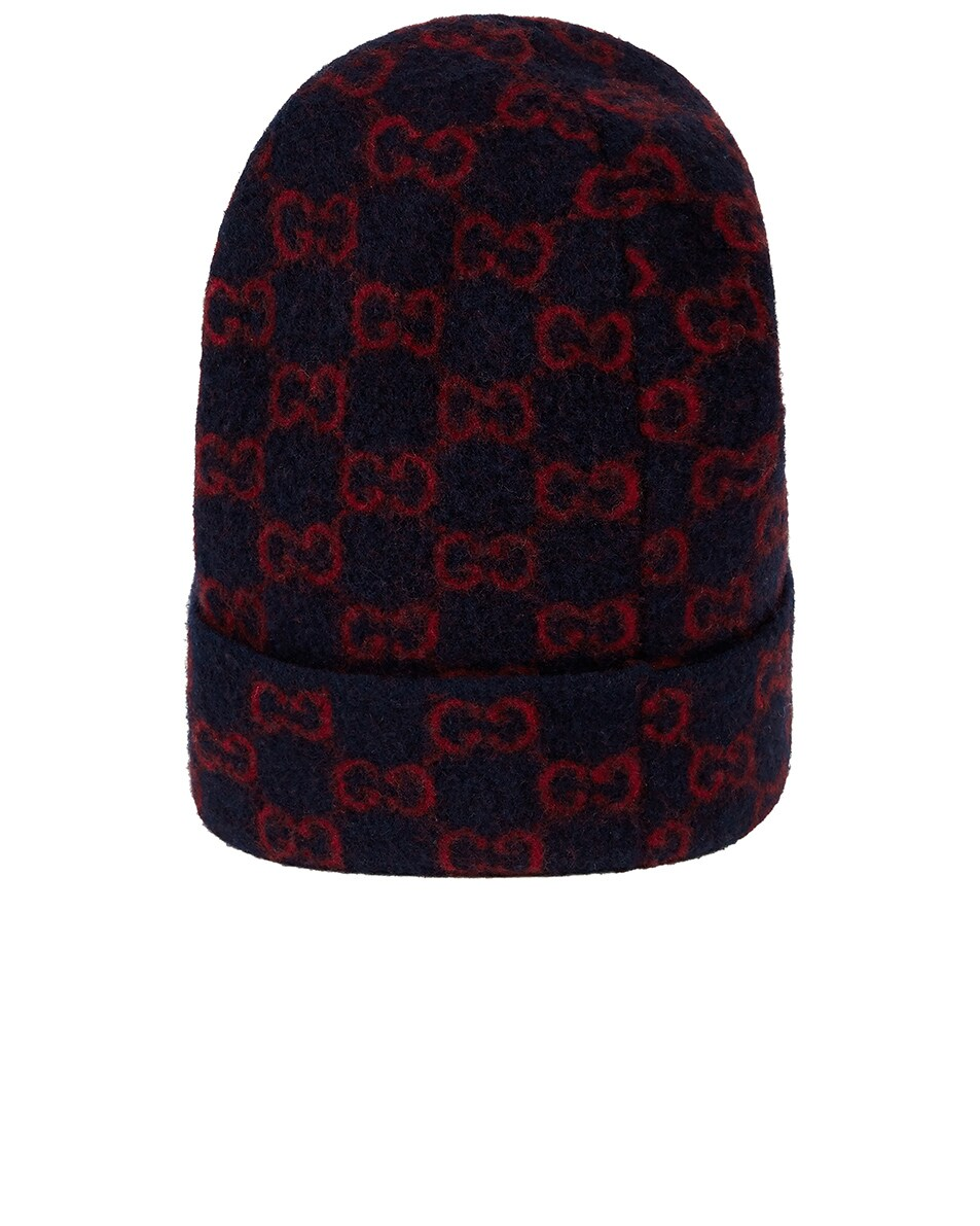Image 1 of Gucci GG Wool Hat In Midnight Blue & Red in Midnight Blue & Red