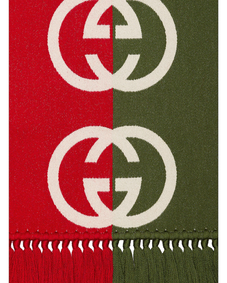 Image 4 of Gucci Scarf in Green & Red