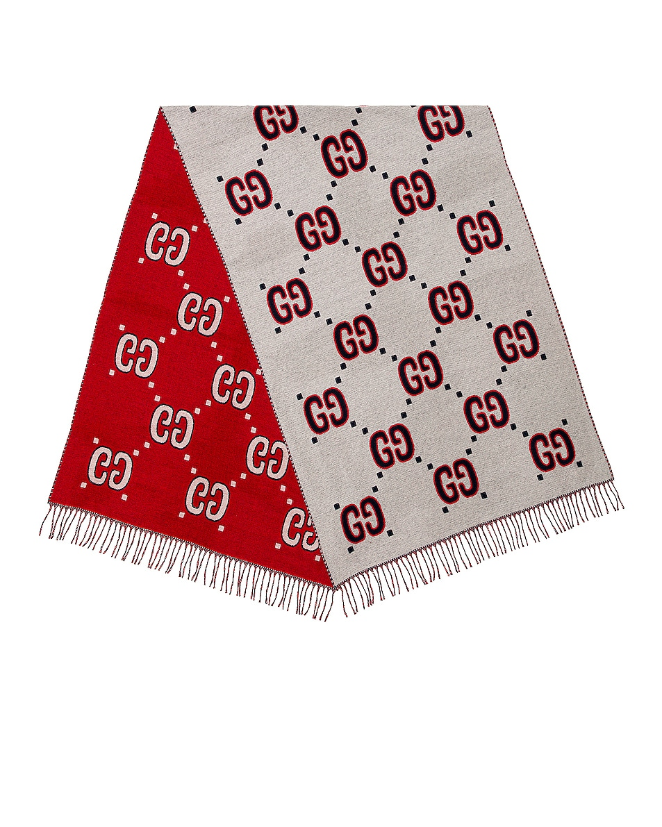 Image 1 of Gucci Scarf in Ivory & Red