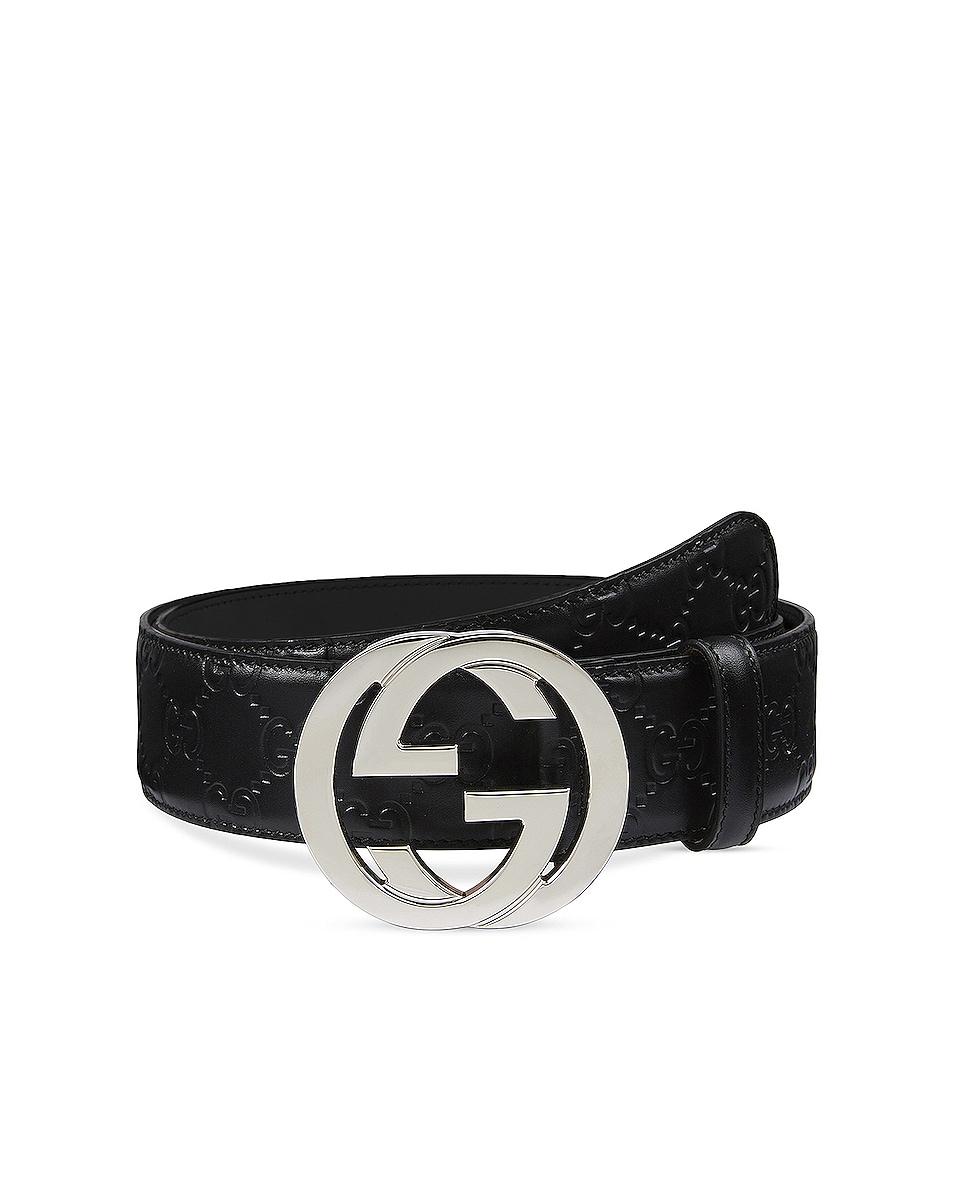 Image 1 of Gucci Gucci Signature Leather Belt In Nero & Nero in Nero & Nero