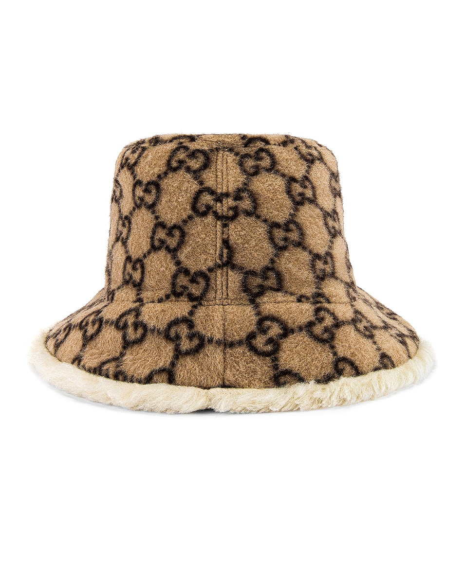 Image 4 of Gucci Bucket Hat in Beige & White