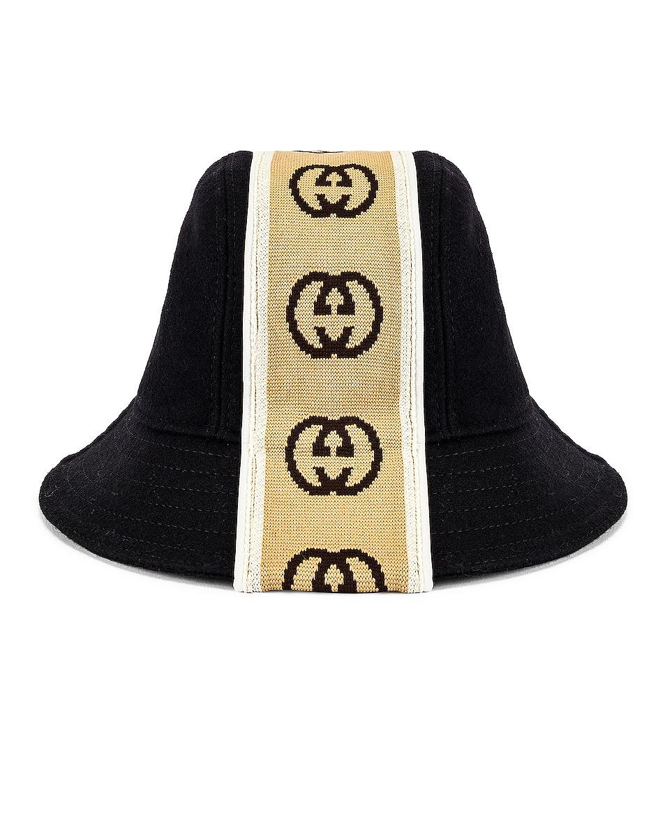 Image 1 of Gucci Bucket Hat in Black & Beige