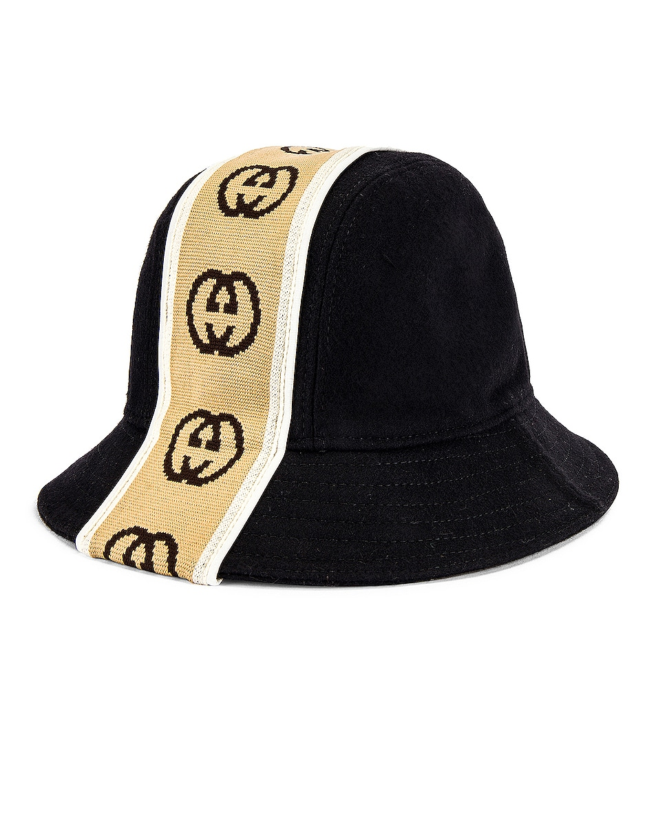 Image 2 of Gucci Bucket Hat in Black & Beige