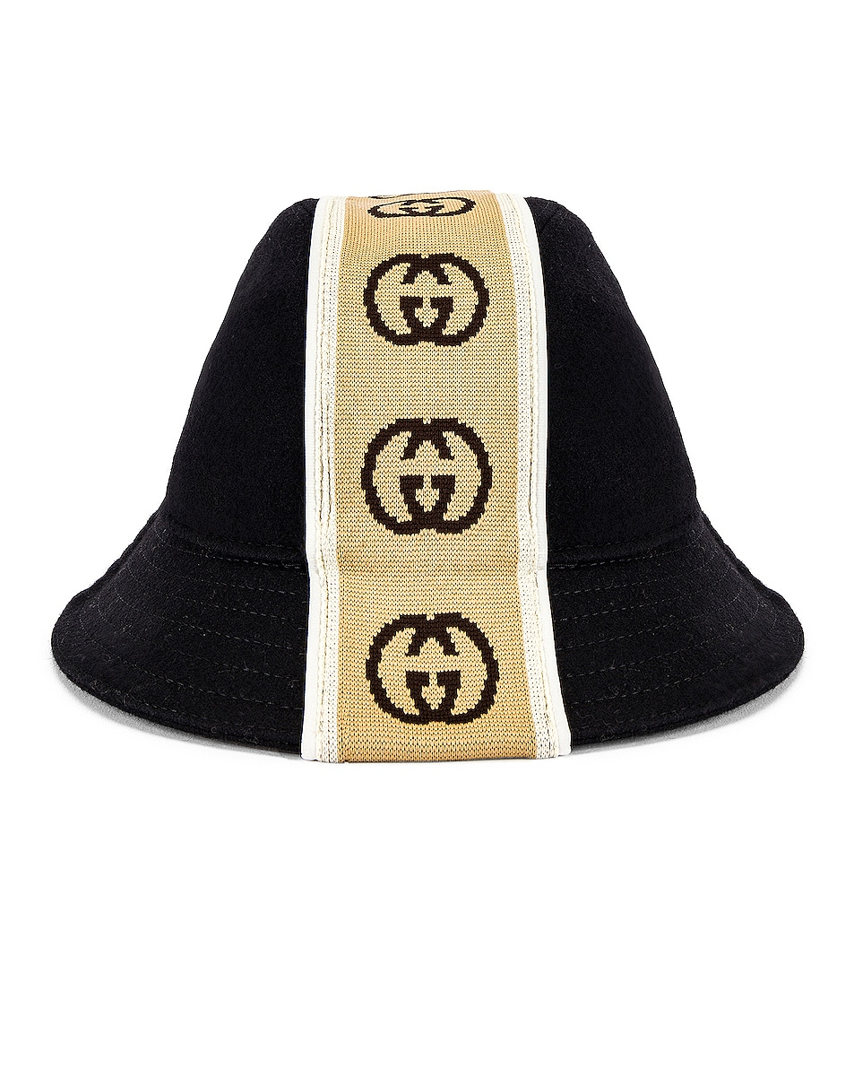 Image 4 of Gucci Bucket Hat in Black & Beige