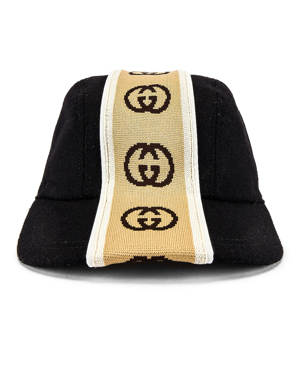 Image 1 of Gucci Baseball Cap in Black & Beige