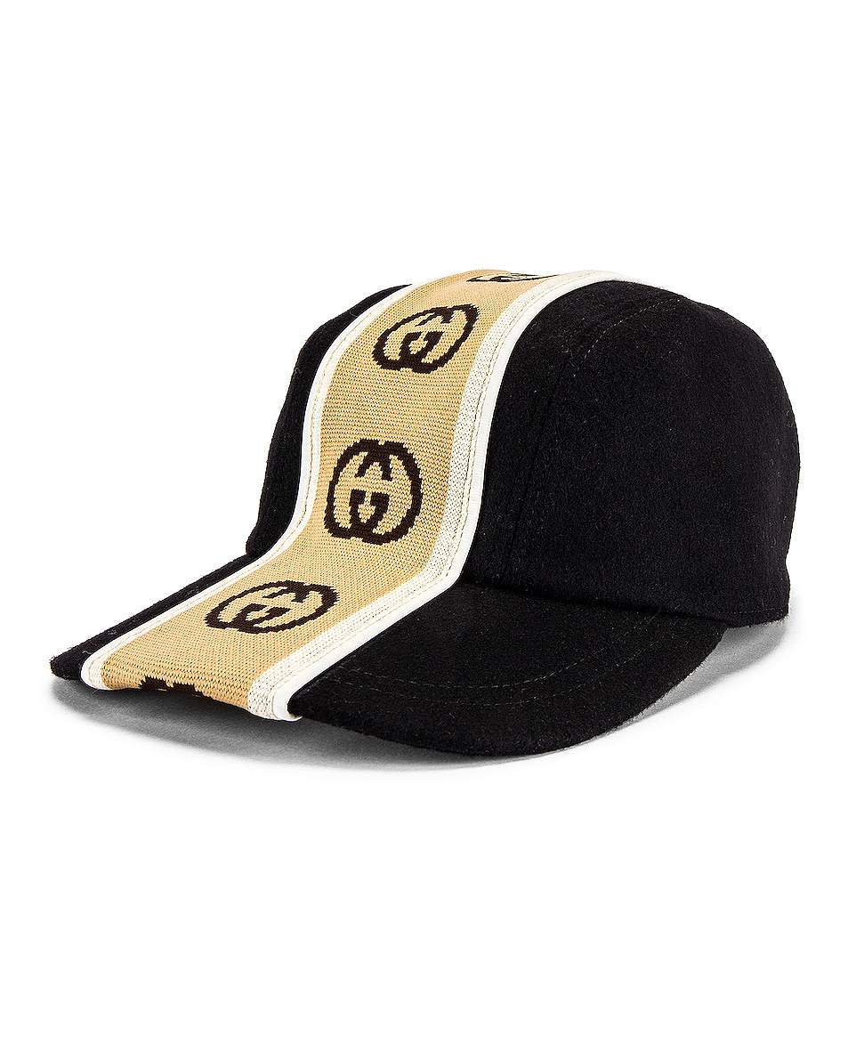 Image 2 of Gucci Baseball Cap in Black & Beige