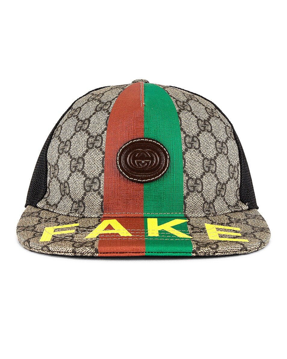 Image 1 of Gucci Baseball Cap in Beige & Ebony Multi