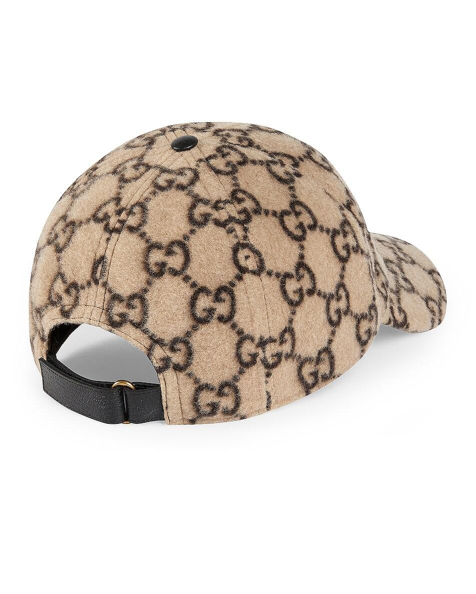 Image 2 of Gucci GG Wool Baseball Hat In Beige & Black in Beige & Black