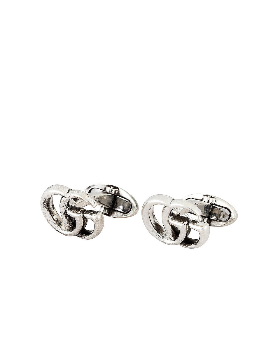 Image 1 of Gucci GG Marmont 17mm Cufflinks in Aged Silver