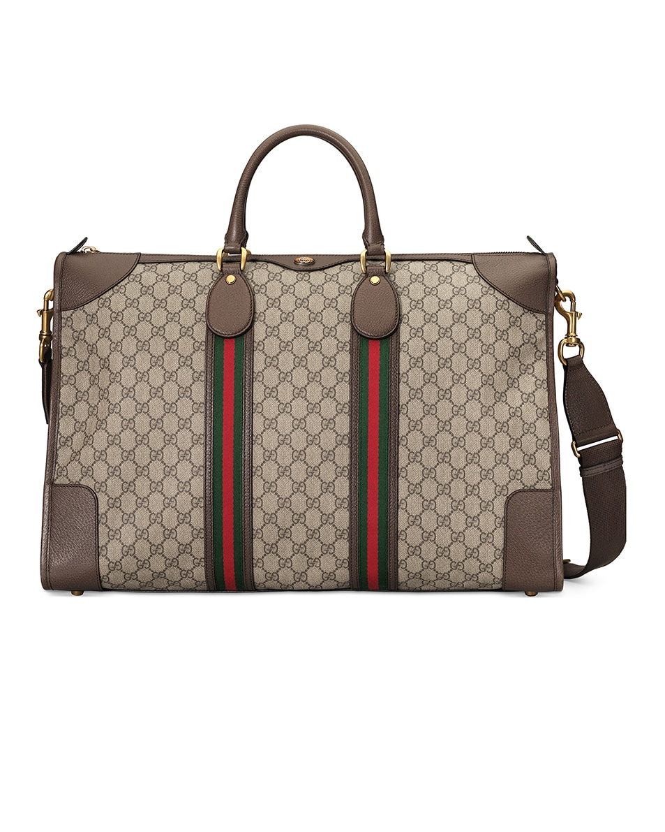 Image 1 of Gucci GG Large Carry-On Duffle Bag In Beige Ebony & Green & Red in Beige Ebony & Green & Red