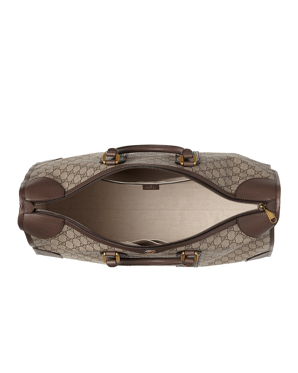 Image 2 of Gucci GG Large Carry-On Duffle Bag In Beige Ebony & Green & Red in Beige Ebony & Green & Red