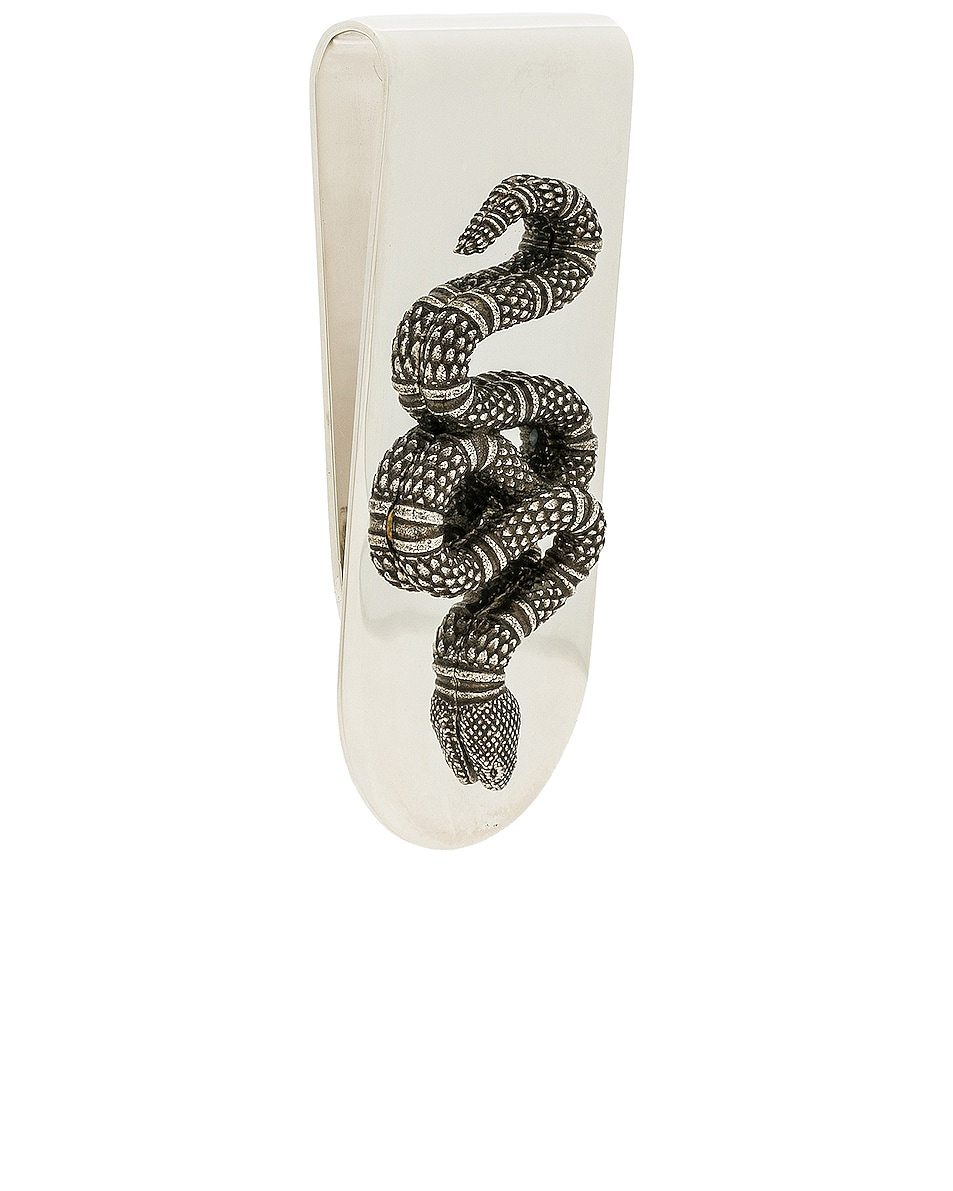 Image 2 of Gucci Snake Motif Money Clip in Sterling Silver & Black