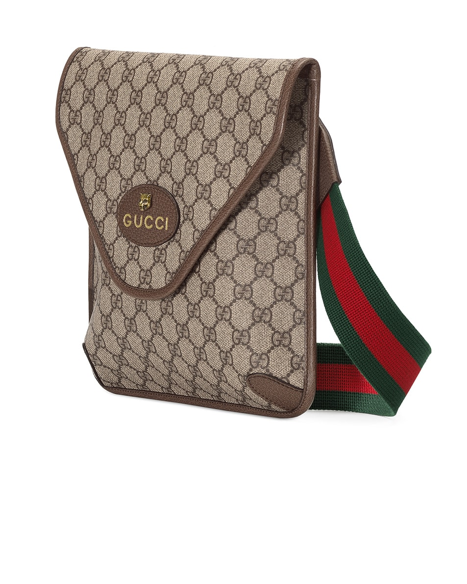 Image 3 of Gucci Neo Vintage GG Medium Messenger Bag In Beige Ebony & Green & Red in Beige Ebony & Green & Red