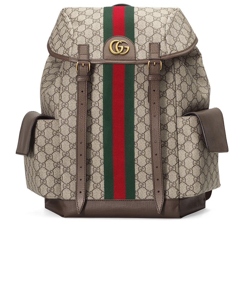 Image 1 of Gucci GG Medium Backpack In Beige Ebony & Green & Red in Beige Ebony & Green & Red