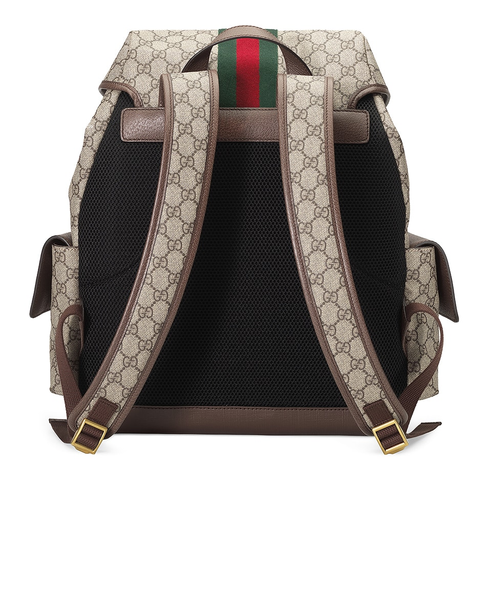 Image 2 of Gucci GG Medium Backpack In Beige Ebony & Green & Red in Beige Ebony & Green & Red