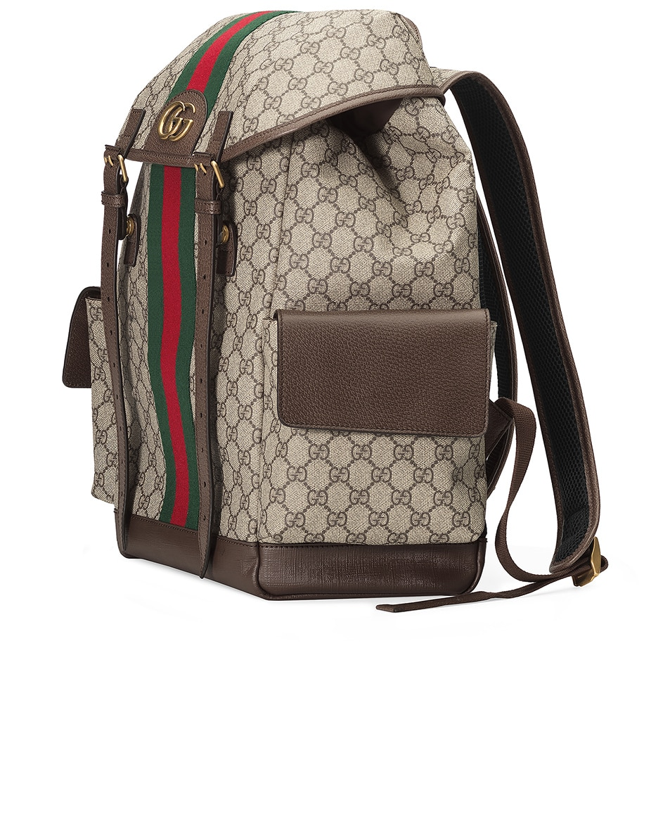 Image 3 of Gucci GG Medium Backpack In Beige Ebony & Green & Red in Beige Ebony & Green & Red