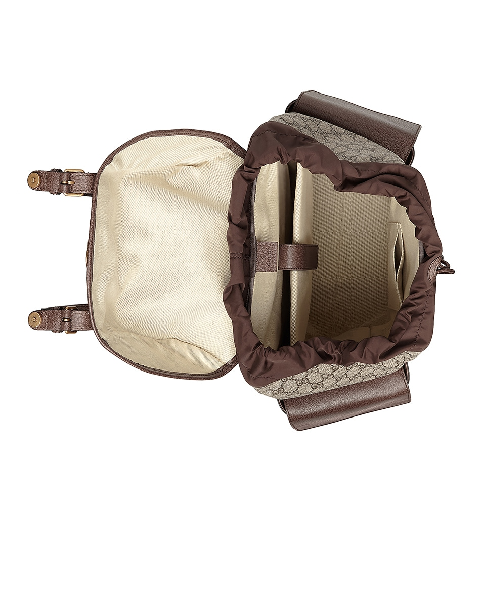Image 4 of Gucci GG Medium Backpack In Beige Ebony & Green & Red in Beige Ebony & Green & Red