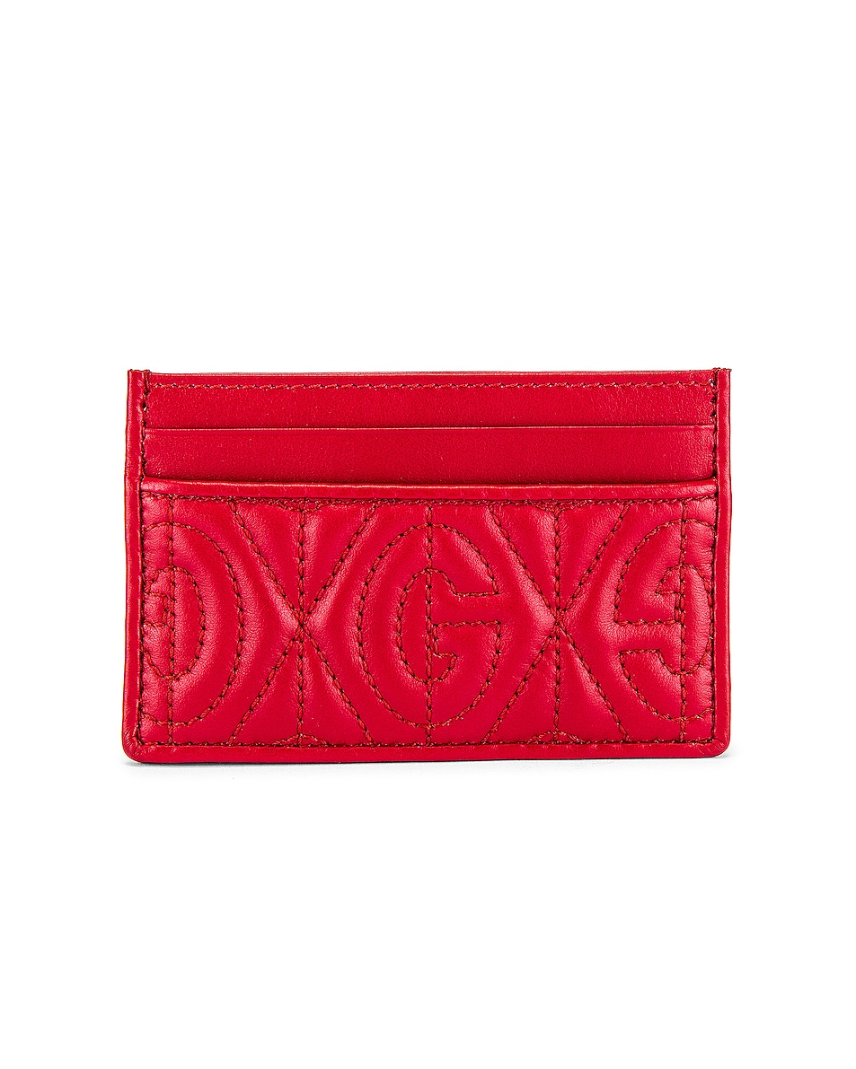 Image 1 of Gucci Card Holder in Hibis Red