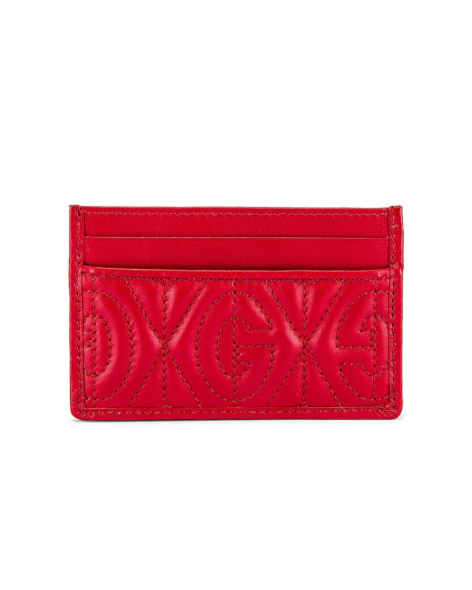 Image 2 of Gucci Card Holder in Hibis Red