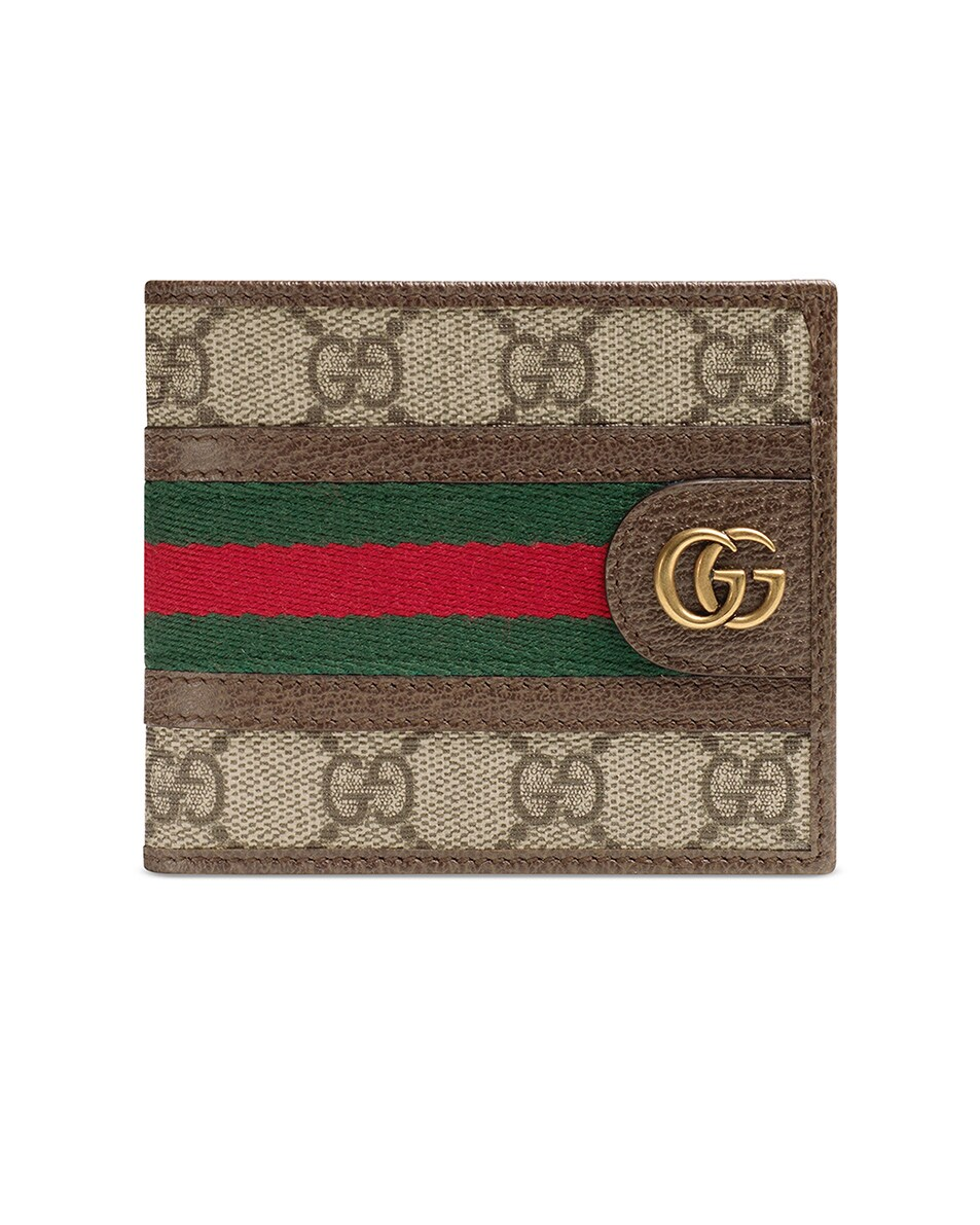 Image 1 of Gucci GG Wallet In Beige Ebony & Green & Red in Beige Ebony & Green & Red