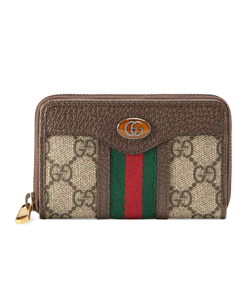 Image 1 of Gucci GG Zip Around Card Case In Beige Ebony in Beige Ebony