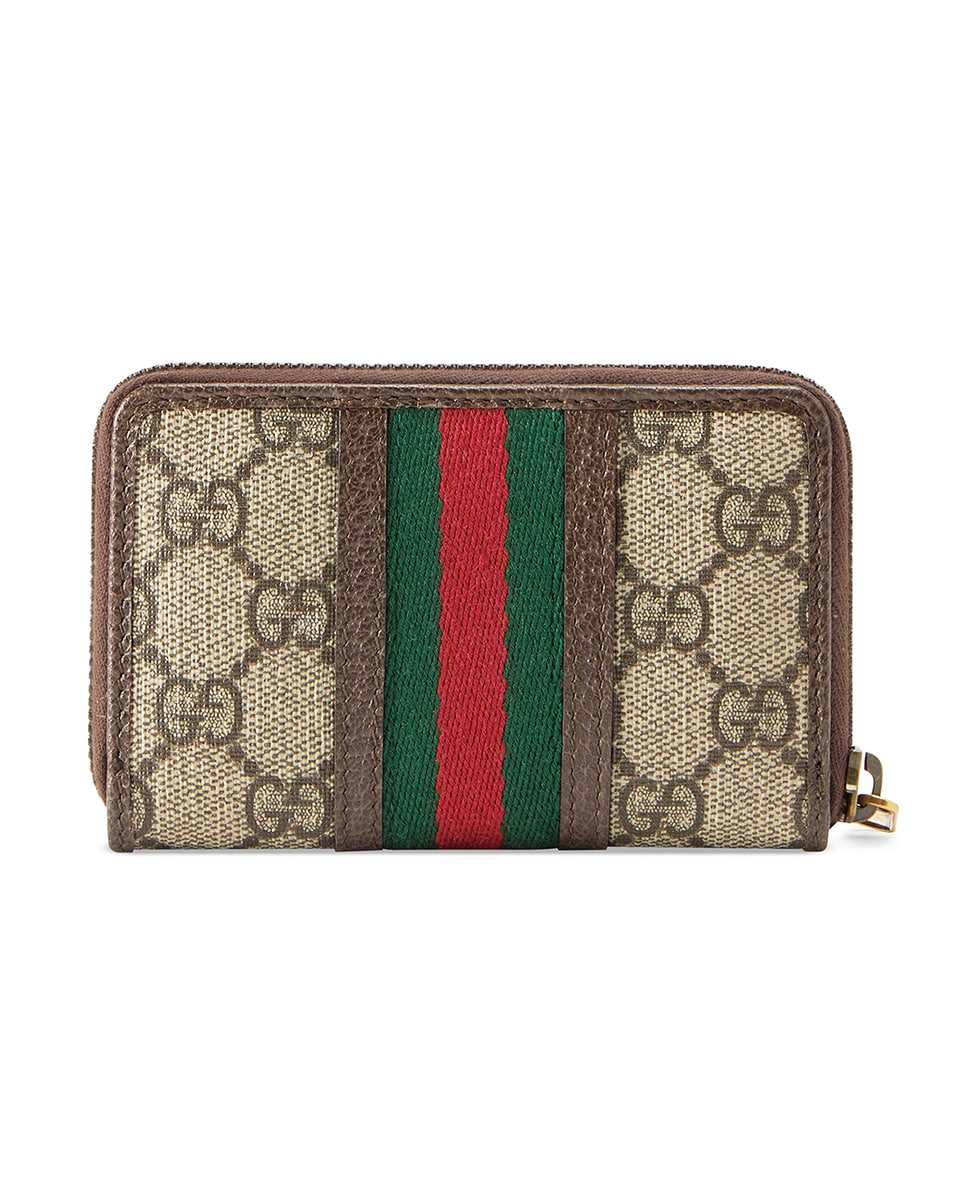 Image 2 of Gucci GG Zip Around Card Case In Beige Ebony in Beige Ebony