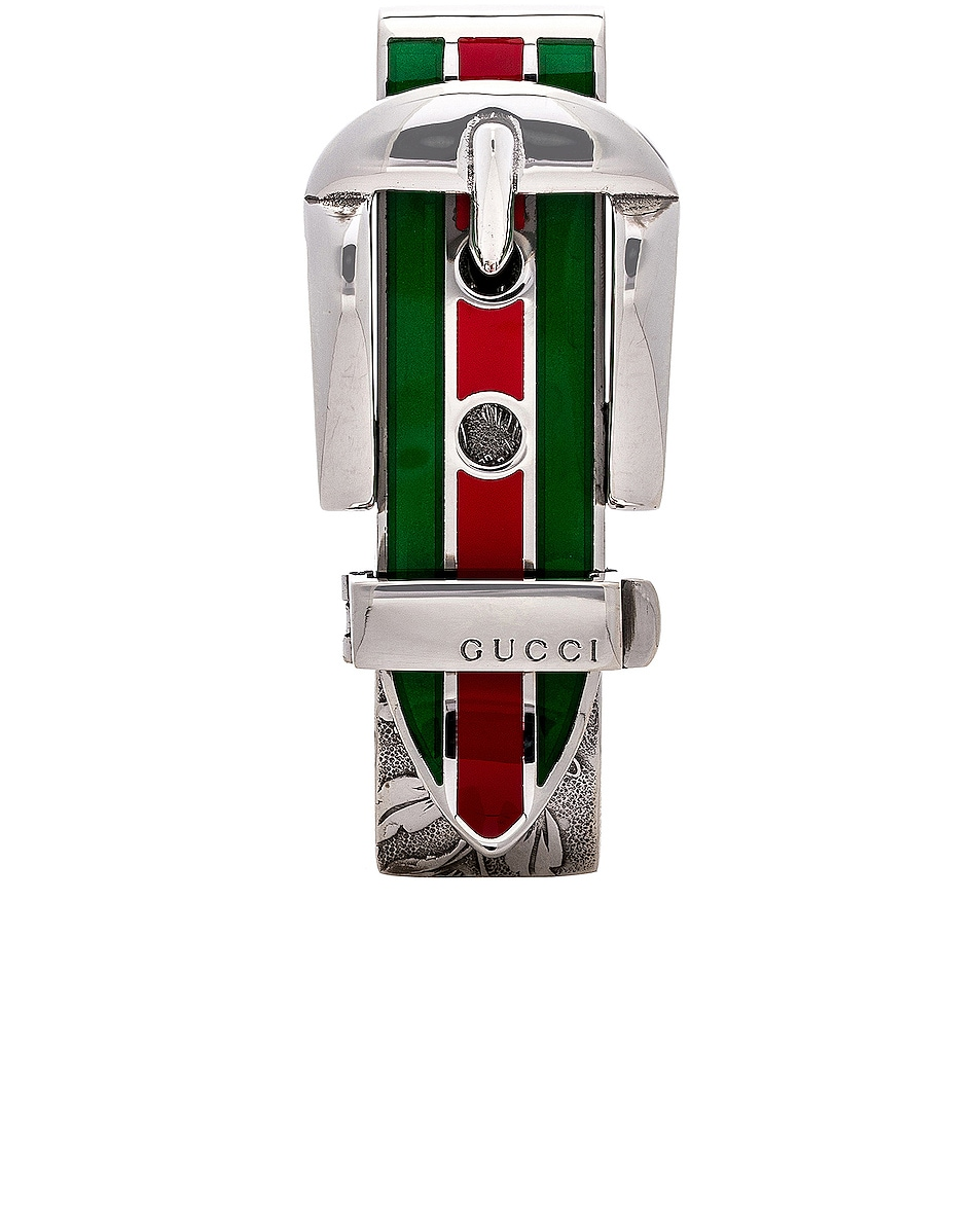 Image 1 of Gucci Enamel Buckle Money Clip in Sterling Silver, Green & Red