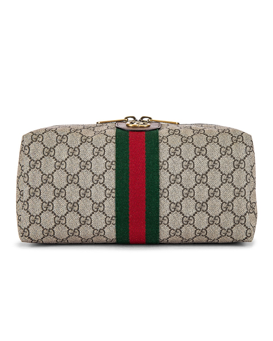 Image 1 of Gucci Pouch in Beige Ebony & Green 7 Red