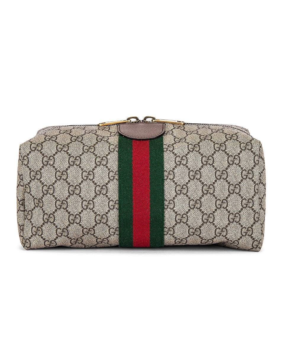 Image 2 of Gucci Pouch in Beige Ebony & Green 7 Red