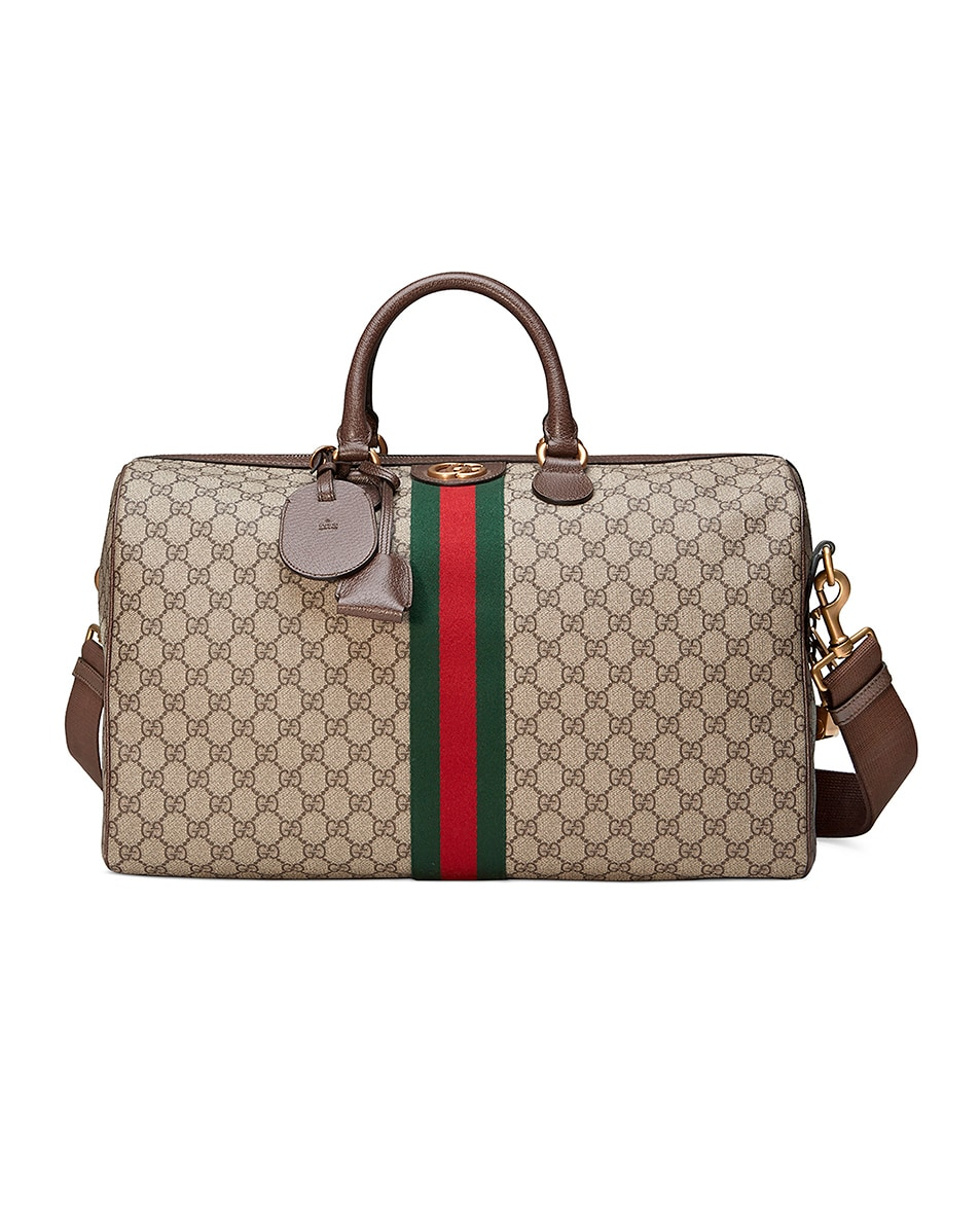 Image 1 of Gucci Ophidia Gg Medium Carry-On Duffle In Beige Ebony & Green & Red in Beige Ebony & Green & Red