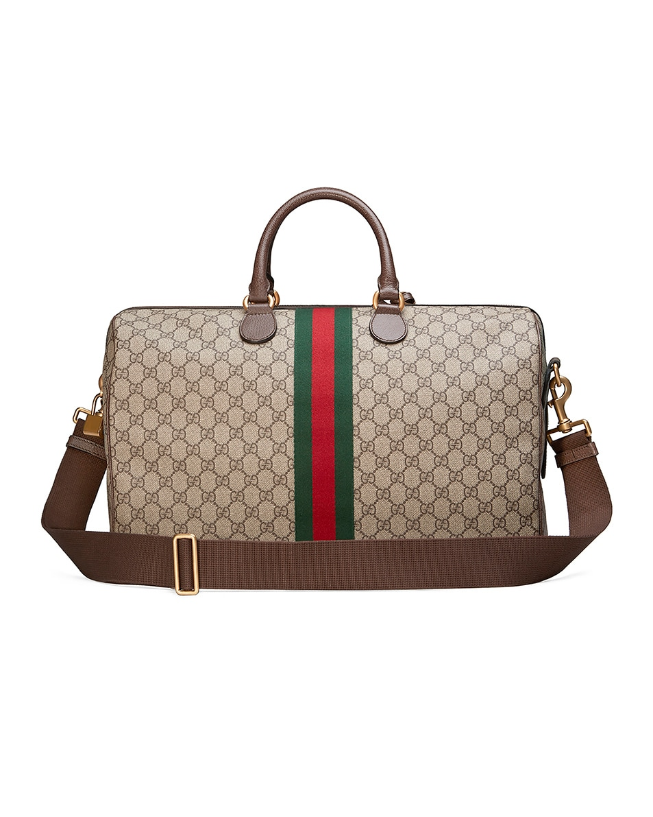 Image 2 of Gucci Ophidia Gg Medium Carry-On Duffle In Beige Ebony & Green & Red in Beige Ebony & Green & Red