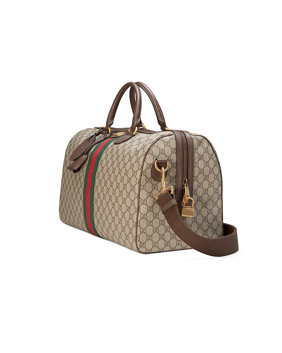 Image 3 of Gucci Ophidia Gg Medium Carry-On Duffle In Beige Ebony & Green & Red in Beige Ebony & Green & Red