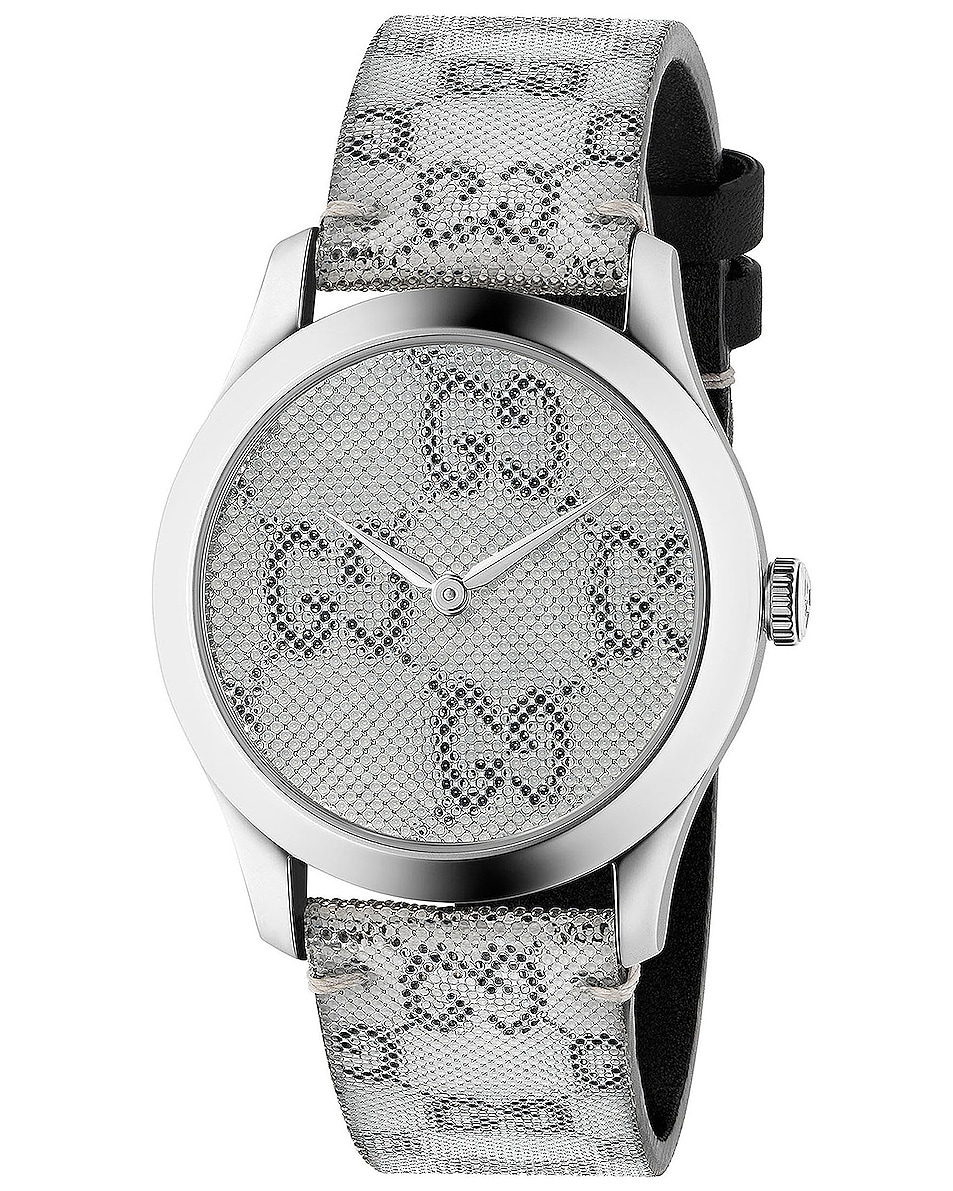 Image 1 of Gucci 38MM G-Timeless Holographic Watch in White & Black